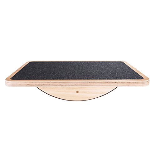 Professional Wooden Balance Board, Rocker Board, 17.5 Inch Wood Standing Desk Accessory, Balancing Board for Under Desk, Anti Slip Roller, Core Strength, Stability, Office Wobble Boards