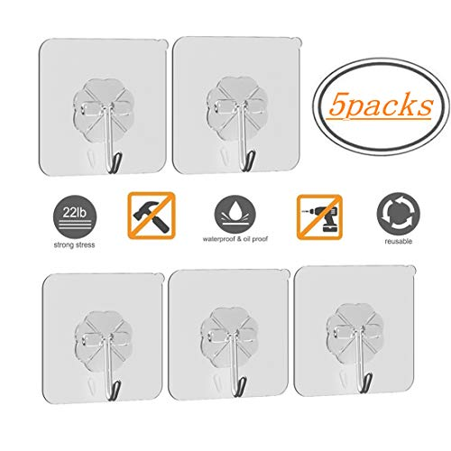 Mokaro Coat Hooks Adhesive Clear - 5 Packs Heavy Duty(22IB) Utility Hooks Without Tools,Multi-Application Ceiling Hanging Hooks for Kitchen Bathroom Office -