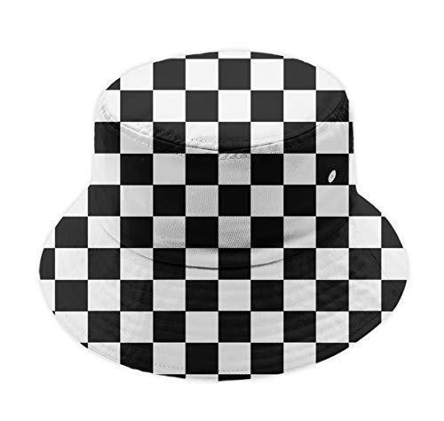 Unisex Wide Brim Foldable Packable Bucket Hat Breathable Race Waving Checkered Flag Fisherman Hat UPF 50+ Sun Protection Cap for Garden, Beach, Travel and Outdoor