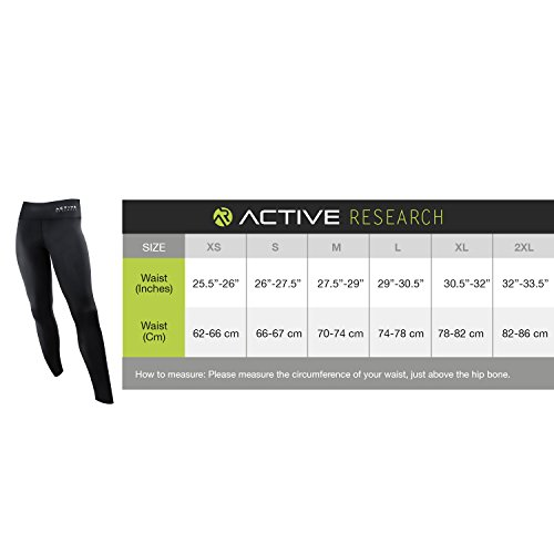 Active Research Women's Compression Pants - Leggings for Running, Yoga, Crossfit, Training and Fitness - Full-Length Athletic Tights w/ Hidden Pocket - S