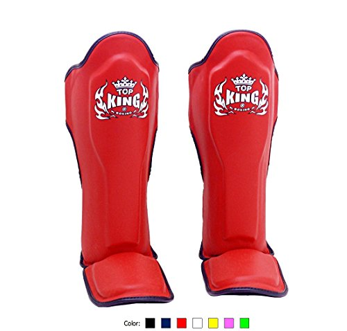 KINGTOP Top King Muay Thai Shin Pads TKSGP GL - Shin Guards Pro Genuine Leather -Red w/Black Trim size: M L XL, Shin Protection for Muay Thai Kick Boxing MMA ()