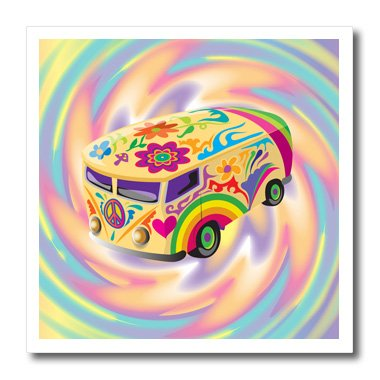 3dRose ht_119158_1 Funky Retro Hippie Sixties Seventies Bus with Swirly Psychedelic Background Iron on Heat Transfer Paper for White Material, 8 by 8