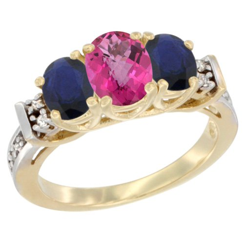 10K Yellow Gold Natural Pink Topaz & Blue Sapphire Ring 3-Stone Oval Diamond Accent, size 10