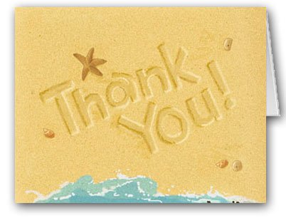 - Beach Note Card Set - 18 Boxed Note Cards - Thank You Beach Sand