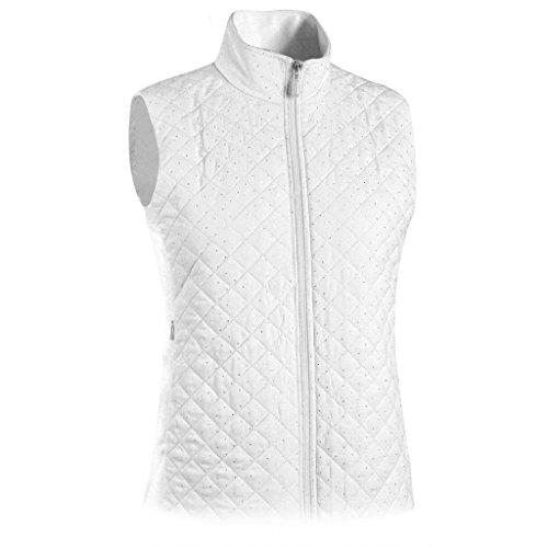 Monterey Club Ladies Quilted Microfiber Foil Dotty Vest #2787 (White, Medium)