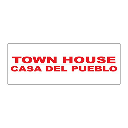Town House Casa Del Pueblo Red Metal Real Estate Rider Sign - 1 or 2 Side Print /6 in x 24 in Two Side Print (Case Townhouse)