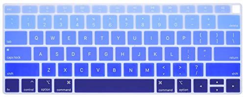 (CaseBuy Premium Keyboard Cover Compatible 2018 Release MacBook Air 13 Inch with Touch ID Model A1932 Soft-Touch Ultra Thin Keyboard Protective Skin, Gradual Blue)
