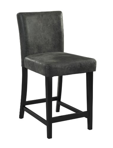 Linon Home Dcor 0226CHA-01-KD-U Linon Home Decor Bar Height Stool Morocco Stool, Charcoal, 17.72