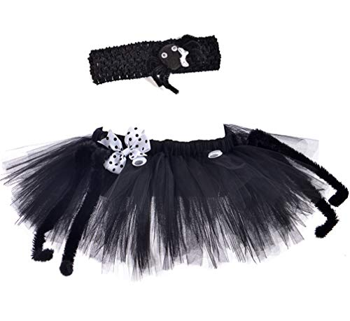 Tutu Dreams Spider Costume for Kids 4-6 Girls Halloween Outfit Black Ghost Widow Witch Dress Up (Spider, Medium (5-7Y))]()
