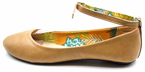 Charles Albert Round Toe Vegan Leather MaryJane Ankle Strap Flats Beige U6f0Uc5PW