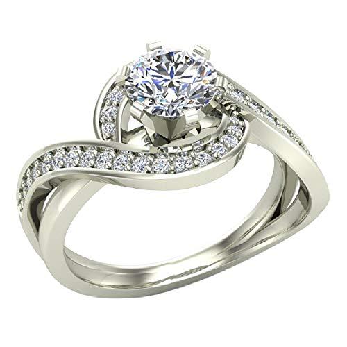 14k White Gold Intertwined Diamond Engagement Ring Split Shank 1.00 ctw (Ring Size 6.5)