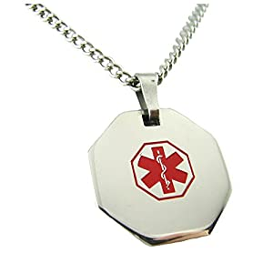 My Identity Doctor USA | Medical Alert Womens Mens Necklace with Pendant | Free Custom Engraving for Diabetes Warfarin Dialysis Stroke Pacemakers