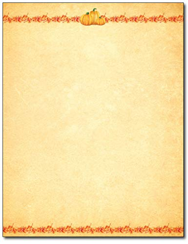 Maple Pumpkins Fall/Autumn Letterhead Paper - 80 Sheets - for Invitations, Flyers, Letters