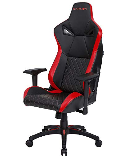 KARNOX Legend TR Racing Style Gaming Office Chair with Adjustable Height and Armrests, Ergonomic 170° Reclining, Locking High Back with Integrated Headrest (red)