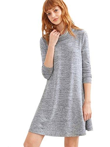 Light Women's Cowl Long Sleeve Tunic T Neck Shirt Dress Grey Casual SheIn d6qHZwvd