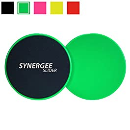 Synergee Core Sliders. Dual Sided Use on Carpet or Hardwood Floors. Abdominal Exercise Equipment