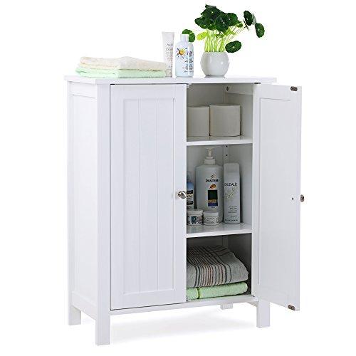 SONGMICS Bathroom Floor Storage Cabinet with Double Door Adjustable Shelf White UBCB60W by SONGMICS (Image #6)