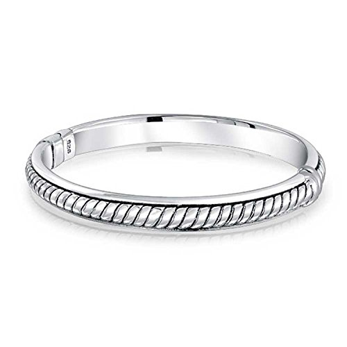 Twisted Cable Rope Hinge Bangle Bracelet For Women Hollow Oxidized 925 Sterling Silver 7.5 Inch ()