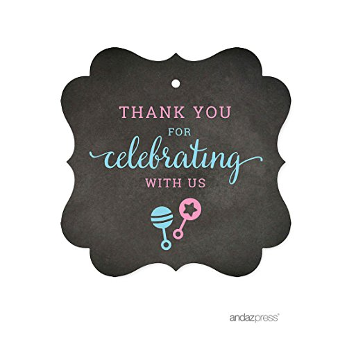 - Andaz Press Team Pink Team Blue Gender Reveal Baby Shower Party, Fancy Frame Gift Tags, Thank You for Celebrating with Us, 24-pack, For Themed Party Favors, Gifts, Decorations