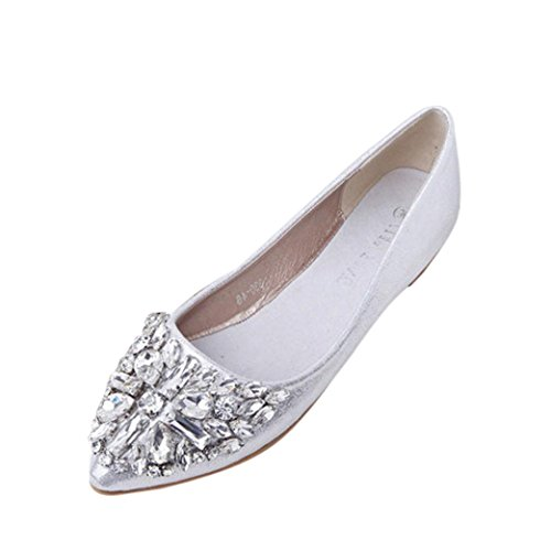 kaifongfu Heel Flat Shoes,Women's Pointed Toe Ladise Shoes Casual Rhinestone Low Heel Flat Shoes (38♫♫US:8, Silver)