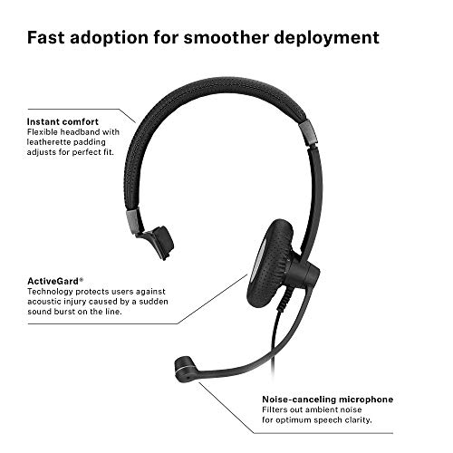 Sennheiser SC 45 USB MS (507083) - Single-Sided Business Headset | For Skype for Business, Mobile Phone, Tablet, Softphone, and PC | HD Sound & Noise-Cancelling Microphone (Black) by Sennheiser Enterprise Solution (Image #5)