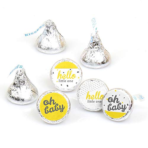 Hello Little One - Yellow and Gray - Neutral Baby Shower Party Round Candy Sticker Favors - Labels Fit Hershey's Kisses (1 Sheet of 108) (Baby Shower Party Favors Yellow)