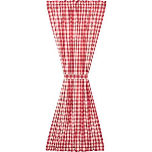 (VHC Brands Farmhouse Curtains Annie Rod Pocket Cotton Tie Back(s) Buffalo Check Door Panel Red Country)
