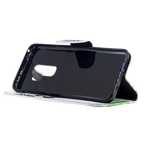 Grandcaser Funda para Samsung Galaxy S9 Plus,Doble Layer Protectora Funda Suave PU Leather Cuero Libro Flip Estuche de Silicona Bumper Flexible Cover - Mariposa Dorada Bambú Panda