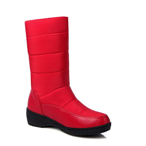 BalaMasa Girls Wave Carved Pattern Bottom Thread Pull-on Imitated Leather Boots Red H6vd49Q