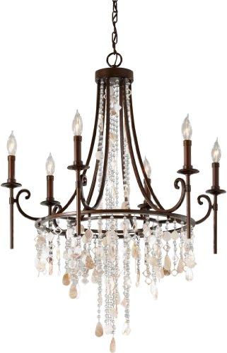 Feiss F2660/6HTBZ, Cascade Crystal 1 Tier Chandelier Lighting, 6 Light, 360 Watts, Bronze