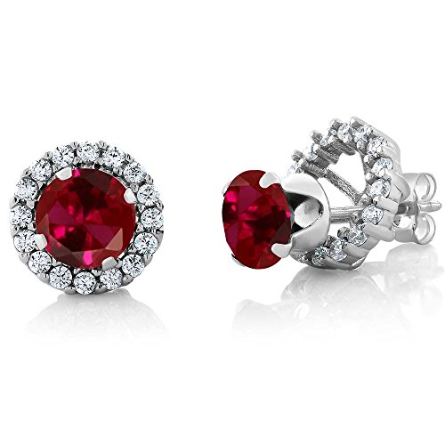 Gem Stone King 2.00 Ct Round 6mm Red Created Ruby 925 Silver Removable Jacket Stud Earrings