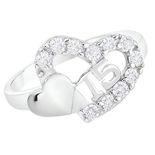 (Sweet 15 Quinceanera Cz Double Heart Ring 925 Sterling Silver Rhodium Plated (10))