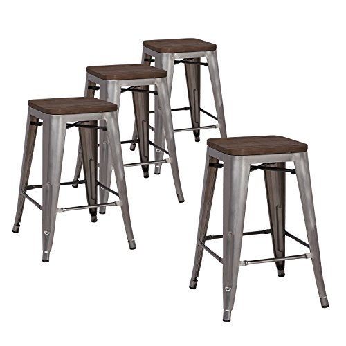 LCH 24' Metal Industrial Counter Height Bar Stools, Set of 4 Backless Indoor-Outdoor Stackable Stool Chairs with Square Elm Wood Seat, Glossy Steel