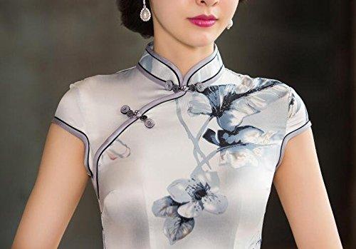Soie Élastique Qipao Des Femmes Aro Lora Cheongsam Chinois Gris Costume Traditionnel