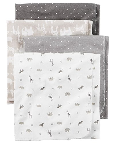 Carter's Baby 4 Pack Flannel Receiving Blanket, Taupe Jungle, One Size - Infant Multi Apparel