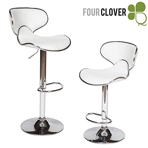 FOUR CLOVER Furniture Masaccio Cushioned Leatherette Upholstery Airlift Adjustable Swivel Barstool with Chrome Base, Set of 2 (White) ()