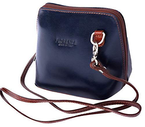 - JAENIS NICHOLE-Crossbody Bags for Women, Polished Dome Shoulder Bags, Small Purse in Italian Leather- Dalida (Small, Blue-Brown)