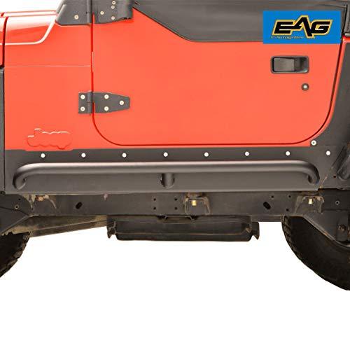 (EAG Steel Rivet Armor Rocker Guard with Tube Running Step Fit for 97-06 Jeep Wrangler TJ )