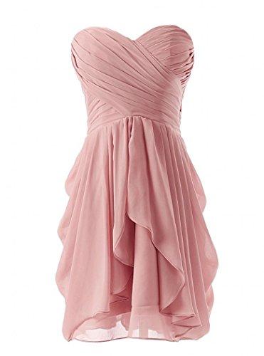 Les Robes De Demoiselle D'honneur En Mousseline De Soie De Femmes De Mariée Courte Blush Robe De Bal Formelle Rose De Annie