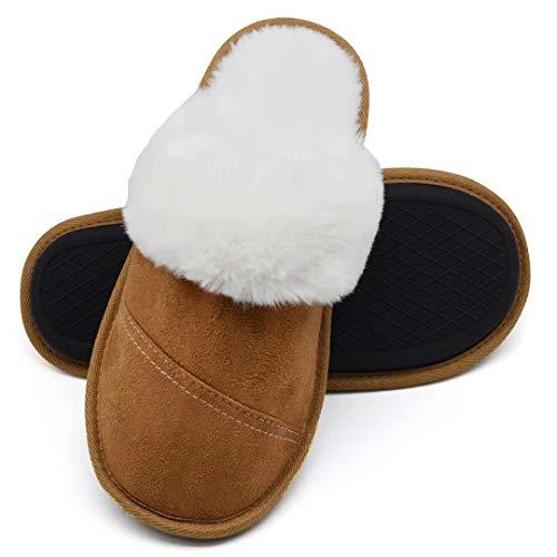 La caqui Para Zapatillas Felpa Piel Sintética Antideslizantes Casa Mujer De Mullida Gamuza Zapatos Diapositivas wqq8UxO