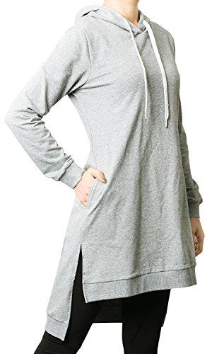 [ililily Women Longline Knit Hoodie Sweatshirt Tunic High-low Hem Pullover Jumper , Grey, US-Large] (Ca Women Women Hoodies)