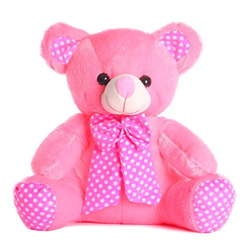 DI Deals India Pink Bow Teddy Bear Soft Toy  35 cm, Pink