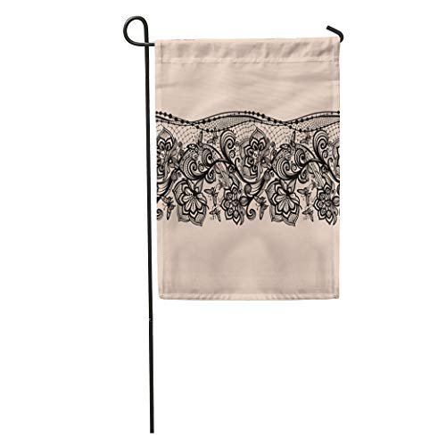 Semtomn Garden Flag Antique Abstract Lace Pattern Flowers and Butterflies Infinitely Lingerie Jewelry Home Yard House Decor Barnner Outdoor Stand 12x18 Inches Flag