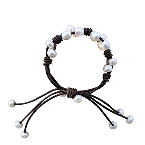 - Lola Lole Flower Genuine Leather Cord Bracelet with Decorated Fresh Water Pearls