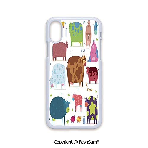 Fashion Printed Phone Case Compatible with iPhone X Black Edge Cartoon Cows Colorful Barnyard Animals Bucket Cafe Home Design Pattern Art 2D Print Hard Plastic Phone Case ()