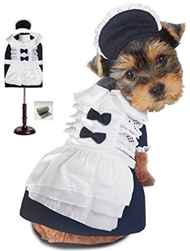 "Frilly French Maid Uniform Costume with Bonnet Hat and bags set - Navy/White - for Dogs - Sizes XS thru L (M – Chest 16-18.5"", Neck 12"", Back 12.5"", Navy Blue/White) (Eyelet Chic)"