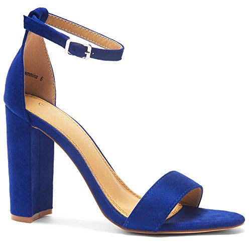 Herstyle Rosemmina Womens Open Toe Ankle Strap Chunky Block High Heel Dress Party Pump Sandals Royal Blue 11.0 ()