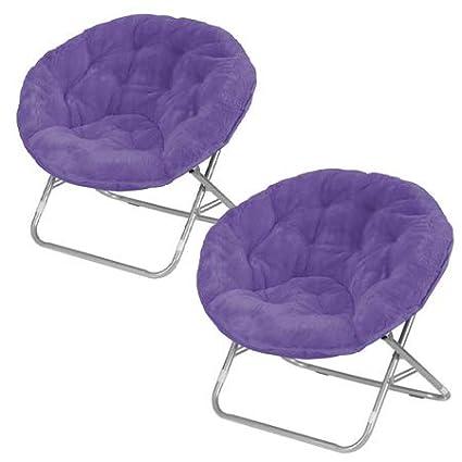 Stupendous Mainstay Faux Fur Saucer Chair Set Of 2 Purple Pabps2019 Chair Design Images Pabps2019Com