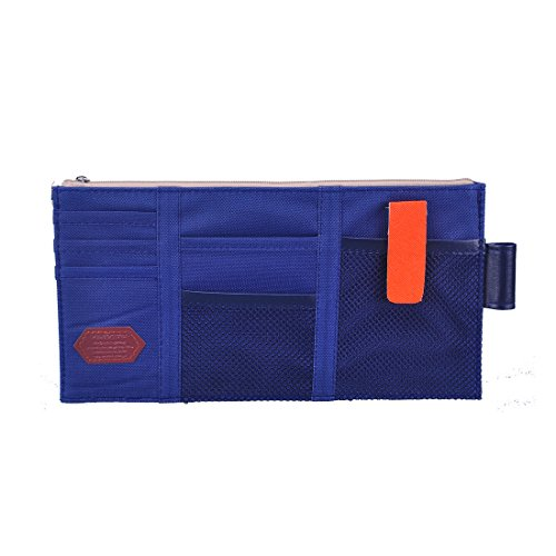 iSuperb Car Sun Visor Organizer Canvas Multi-function Space Card Phone Storage Pouch Bag 11.4x5.5inch(Dark Blue) (Sun Organizer Visor)