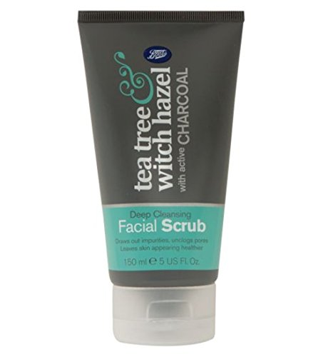 Boots Tea Tree and Witch Hazel Charcoal Facial Face Scrub 150ml Tea Tree Witch Hazel